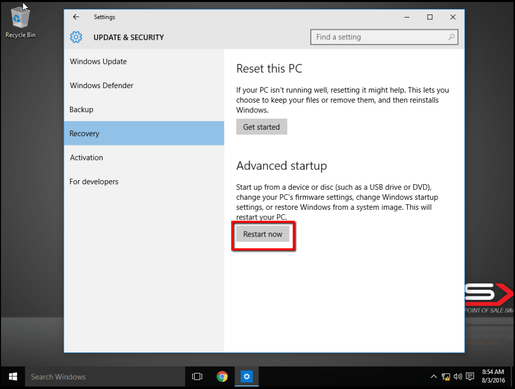 POS-X Factory Restore Windows 10